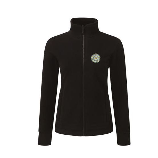 yorkshire rose embroidered on black ladies fleece