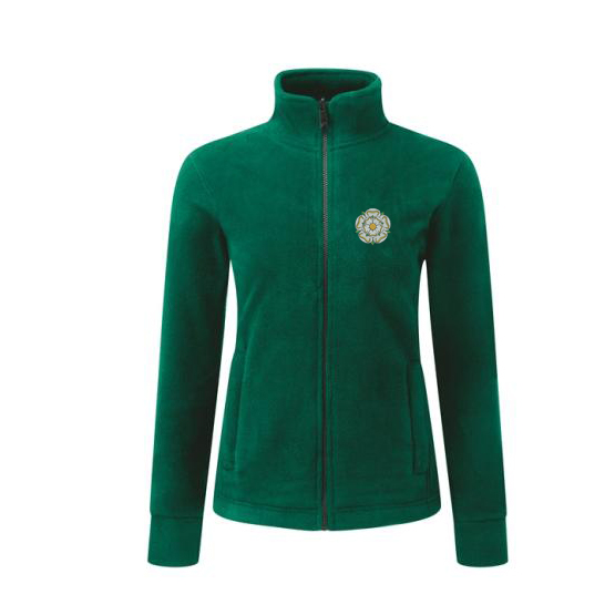 yorkshire rose embroidered on bottle green ladies fleece