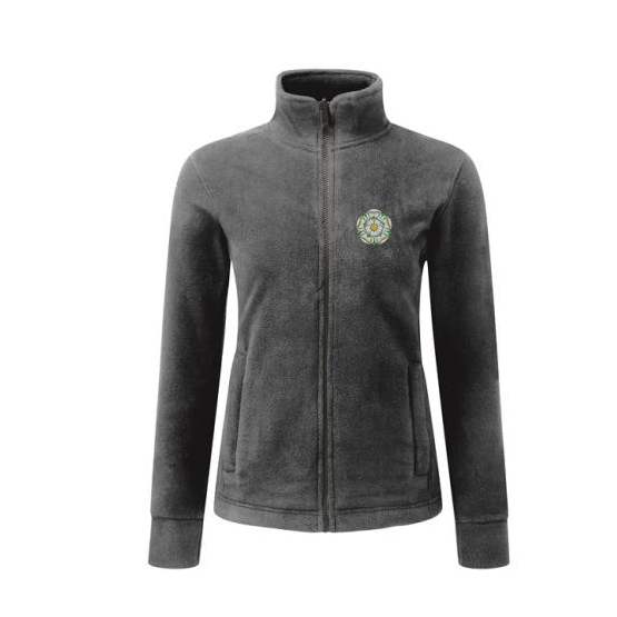 yorkshire rose embroidered on graphite ladies fleece