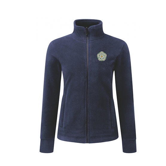 yorkshire rose embroidered on navy ladies fleece