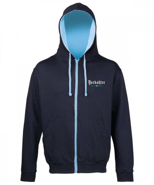 yorkshire born and bred embroidered navy hoodie with sky inner hood and strings