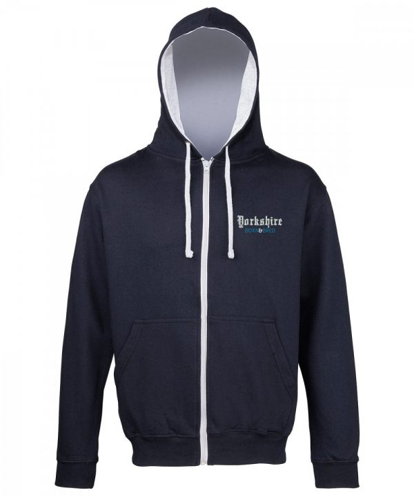 yorkshire born and bred embroidered on zipped navy hoodie with grey inner hood and strings