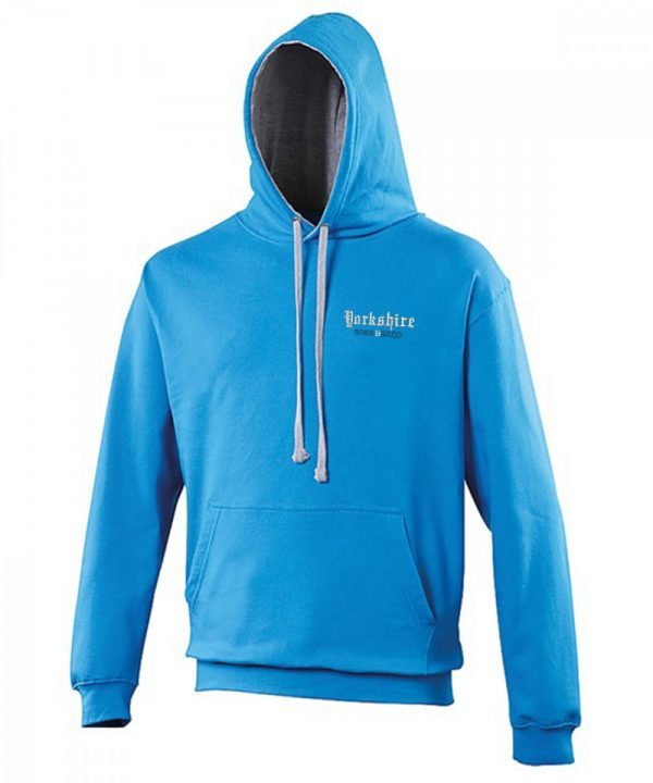 yorkshire born and bred embroidered sapphire hoodie with grey inner hood and strings