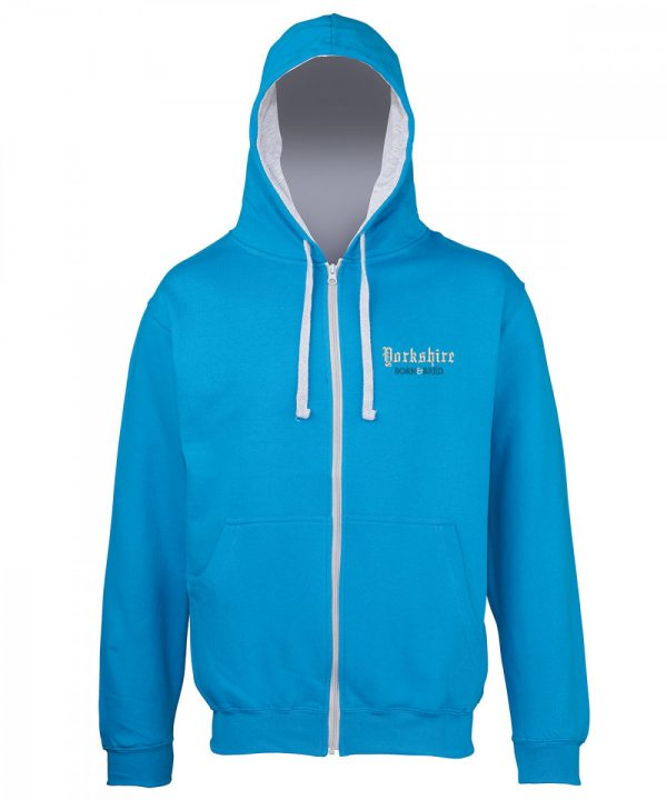 yorkshire born and bred embroidered on zipped sapphire hoodie with grey inner hood and strings