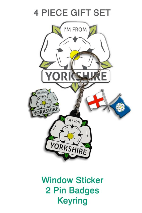 four piece gift set with an I'm From Yorkshire sticker, keyring, badge, and a Yorkshire and England flag badge
