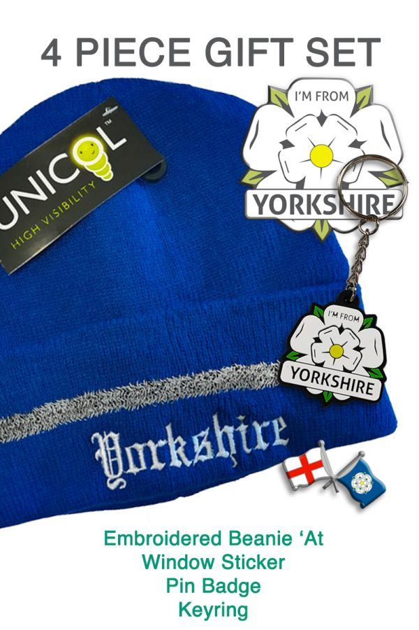 promotional image with royal blue beanie and an I'm From Yorkshire sticker, keyring and badge