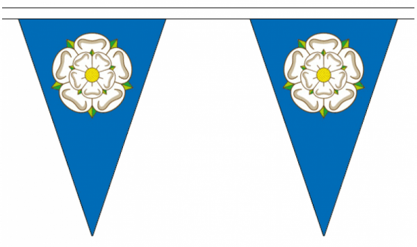 yorkshire blue triangle bunting with a Yorkshire Rose in the centre of each flag