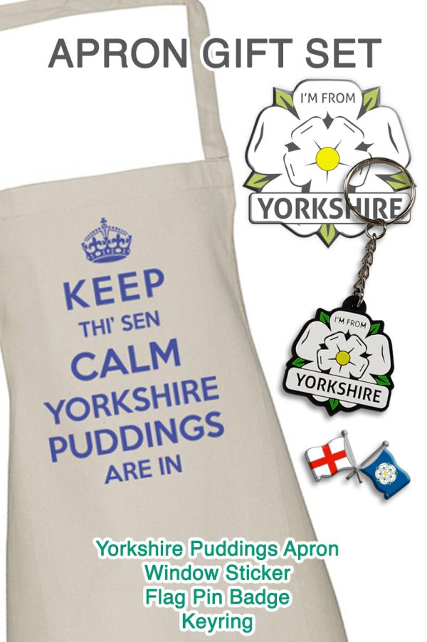 promotional apron gift set with keep calm apron, I'm From Yorkshire sticker, keyring and badge