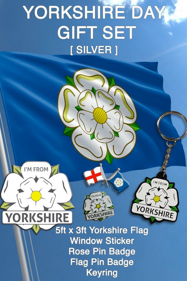 promotional yorkshire day gift set silver with an I'm From Yorkshire flag, sticker, keyring and two badges