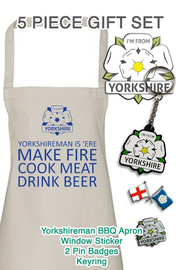 promotional apron gift set with yorkshire bbq apron and I'm From Yorkshire sticker, keyring and two badges