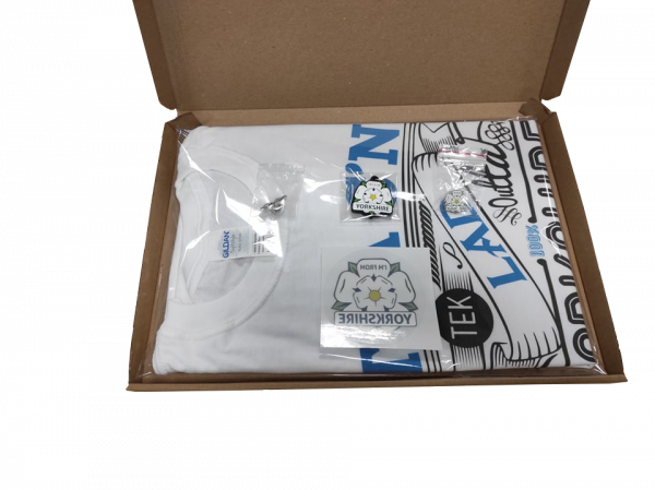 yorkshire lad t-shirt, yorkshire window sticker, keyring and two badges inside gift box with transparent background