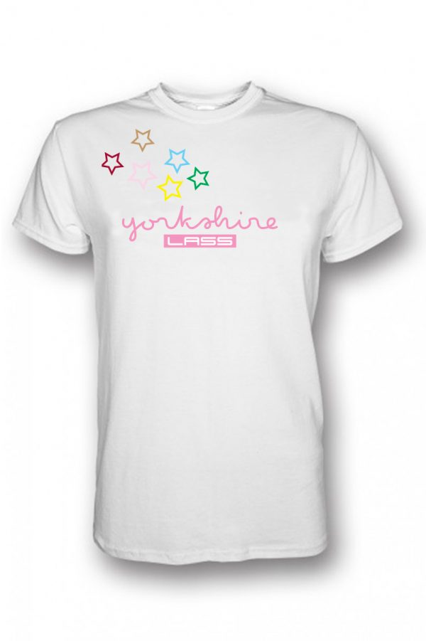 pink yorkshire lass text with multicoloured stars across the chest