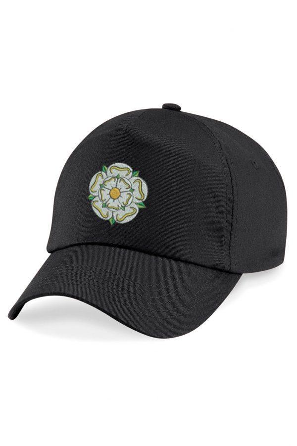 yorkshire rose embroidered baseball cap black