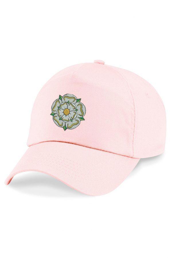 yorkshire rose embroidered baseball cap pastel pink