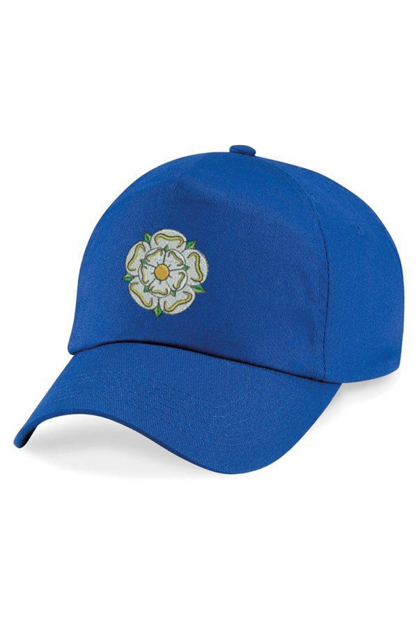 yorkshire rose embroidered baseball cap royal blue