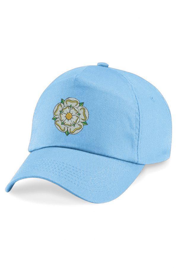 yorkshire rose embroidered baseball cap sky blue