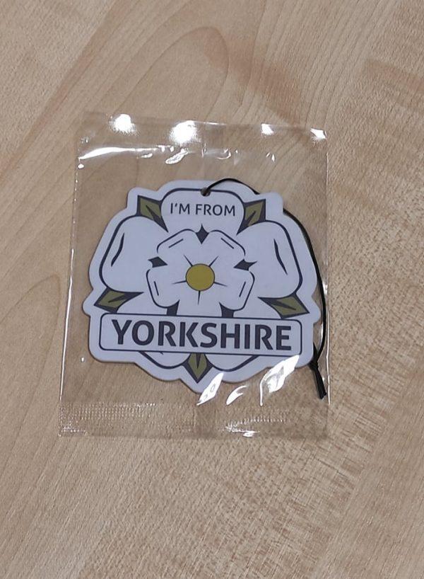 i'm from yorkshire white rose logo car air freshener