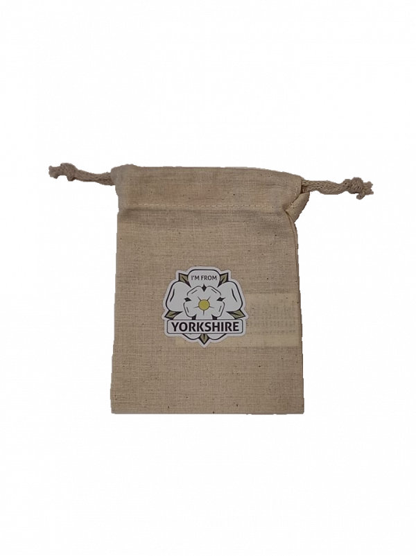 i'm from yorkshire rose logo in the centre of a small drawstring gift bag
